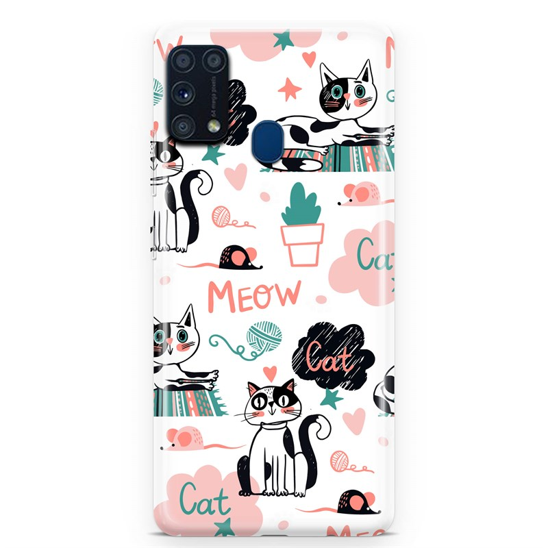Samsung M31 Meow Cat And Mouse Desen Kılıf