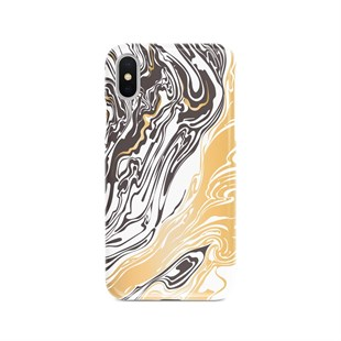 İphone Xs Max Gold Brown Mermer Desen Telefon Kılıfı